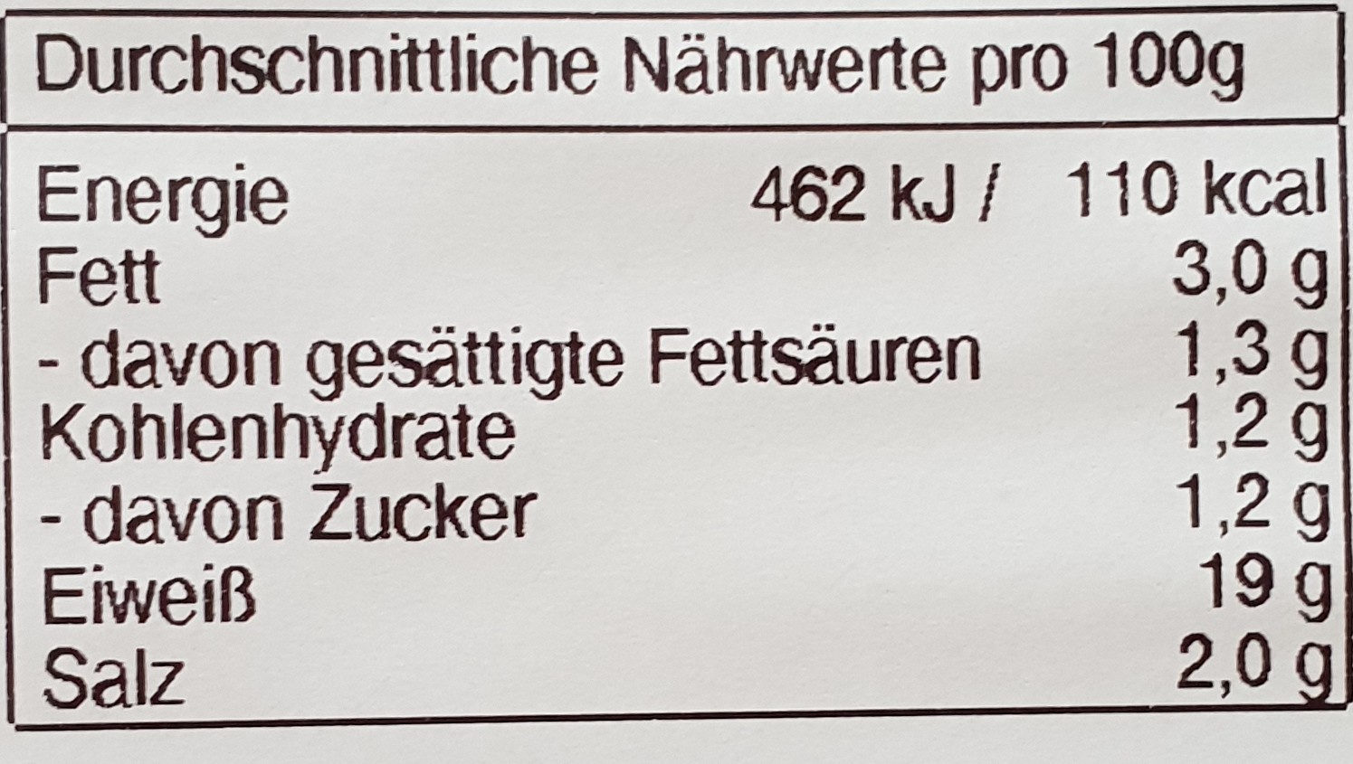 Farmer-Schinken - Nutrition facts - de