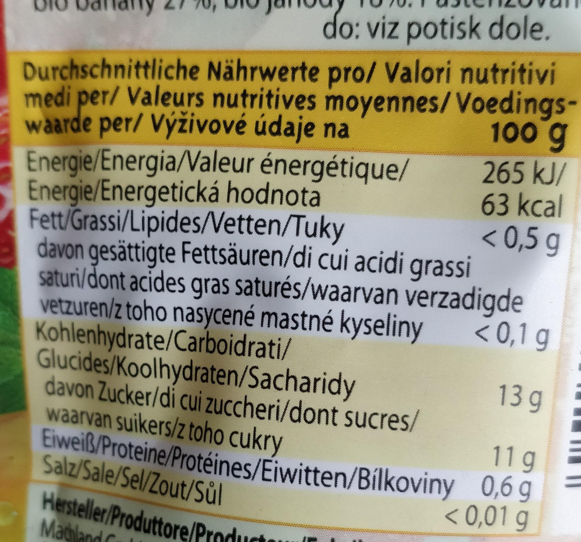 Machland Bio Fruitsnack Apfel Banane Erdbeere - Voedingswaarden - fr