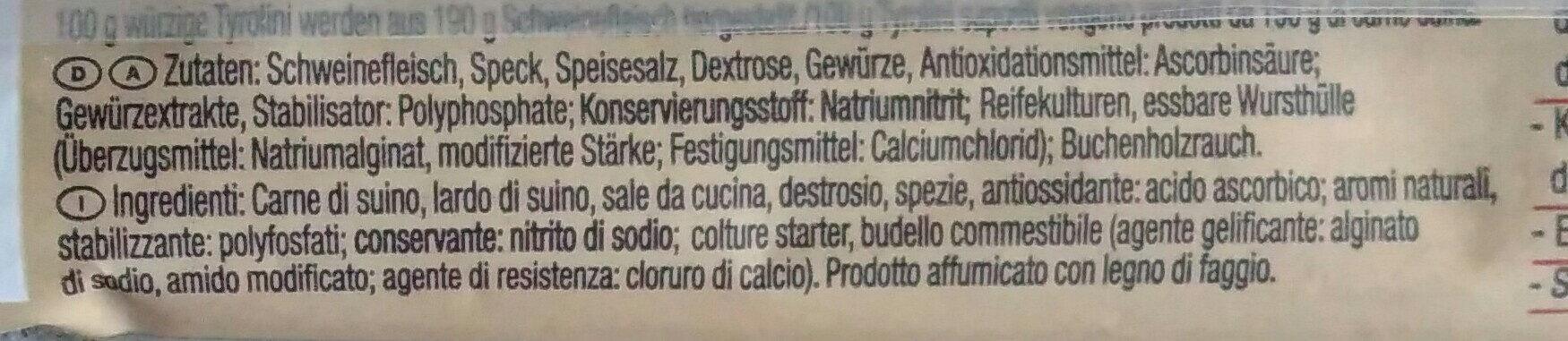 Würzige Tyrolini - Ingrédients - de