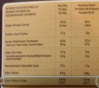 Mousse au chocolat (préparation pour) - Voedingswaarden - fr