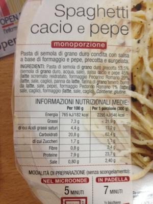 Spaghetti cacio e pepe, Surgelé - Produit
