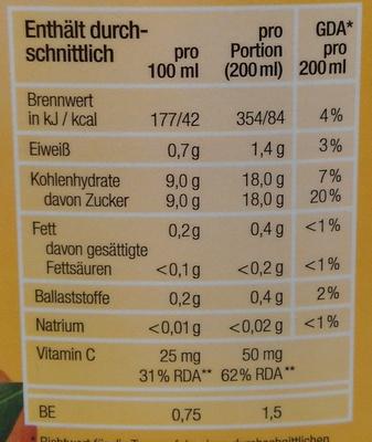 Milder Orangensaft - Voedingswaarden - de