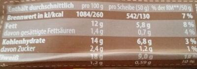 Eiweissbrot mit Walnüssen geschnitten - Nutrition facts