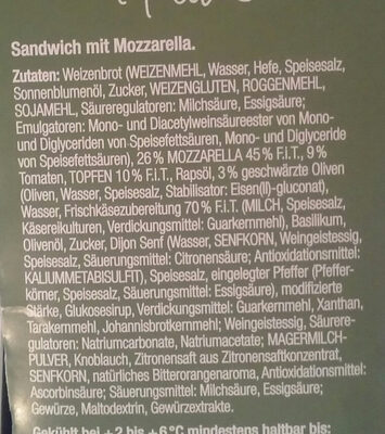Sandwich mit Mozarella - Ingrédients