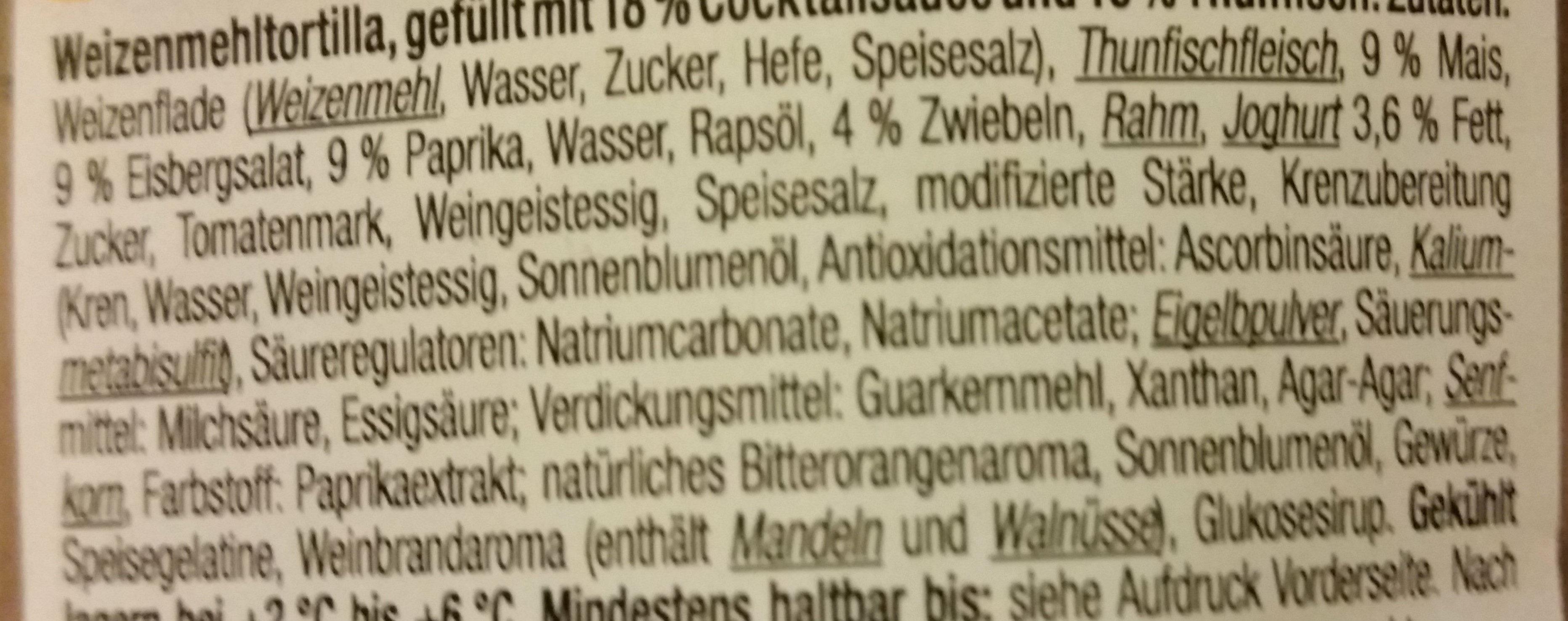 Pita Roll mit Thunfisch, Salat und Gemüse - Ingrediënten - de