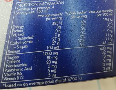 Energy drink - Nutrition facts - en