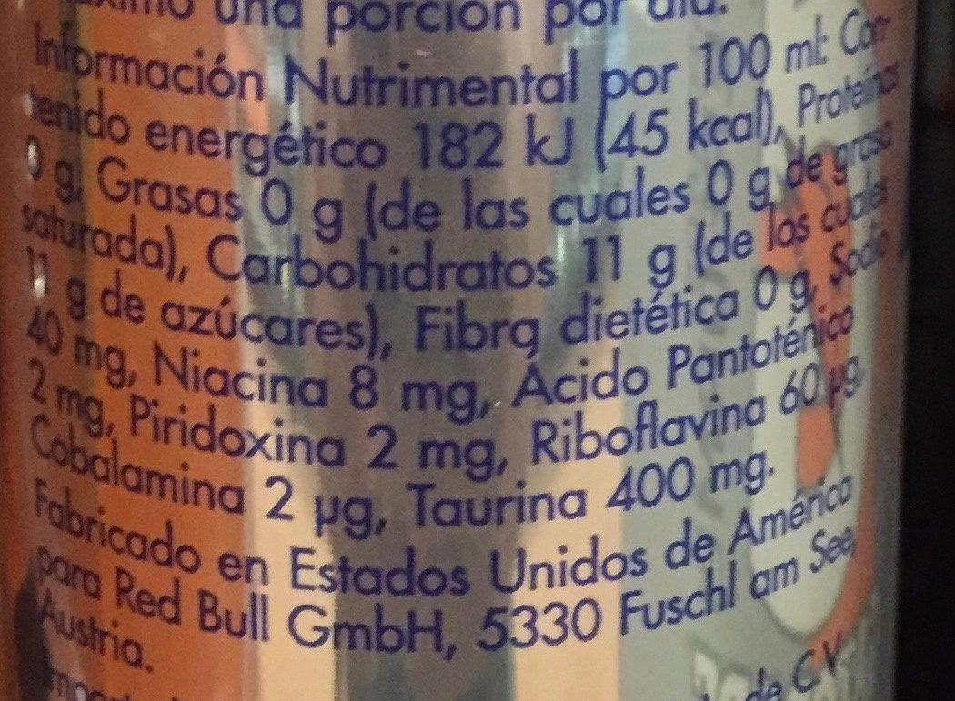 Red Bull Energy Drink - Voedingswaarden - es