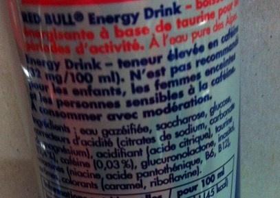 Red Bull Energy Drink - Ingrédients