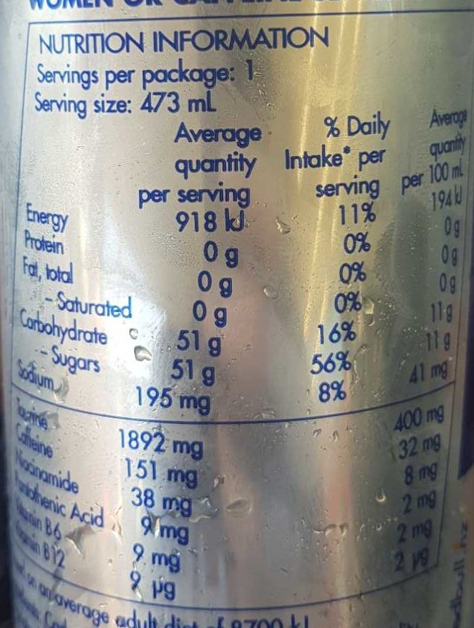 Red Bull Energy Drink - Nutrition facts - en