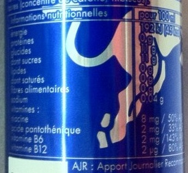 Red Bull Blue Edition - Informations nutritionnelles
