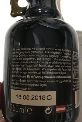 100 % Steirisches Kürbiskernöl - Ingredienti - fr