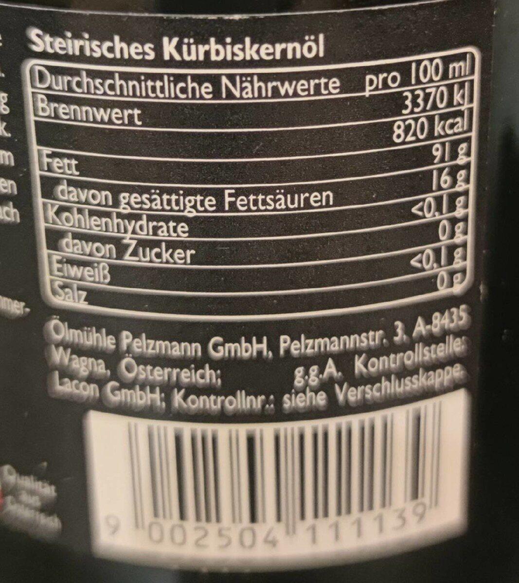100 % Steirisches Kürbiskernöl - Valori nutrizionali - fr