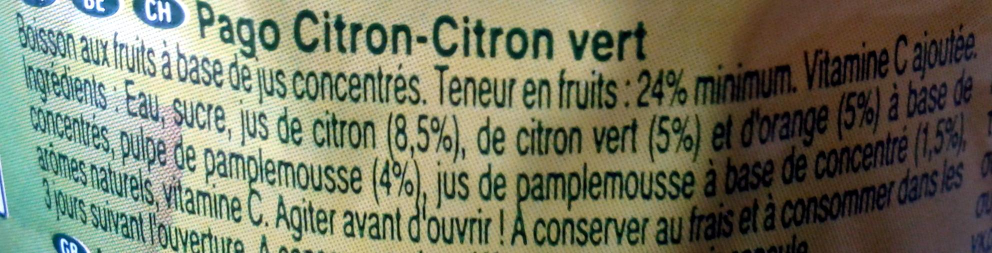 Pago Citron - Citron vert - Ingredients