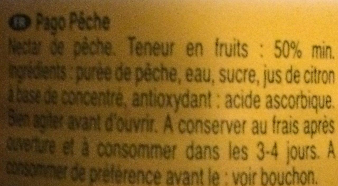 Pago Peach Pet - Ingredients - fr
