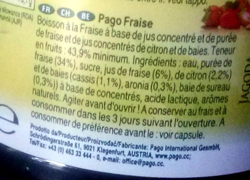 Pago Fraise - Ingrediënten - fr