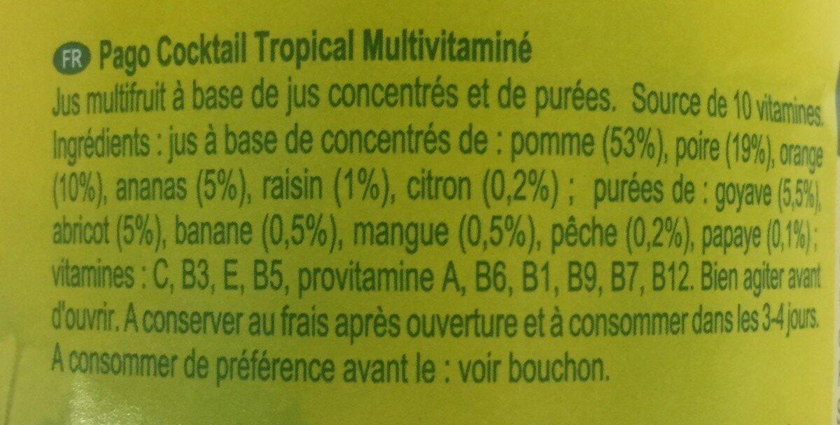 Multivitamin Tropical - Ingrédients - fr