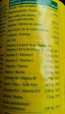 100% jus à base de jus concentrés et de purées - Informations nutritionnelles - fr