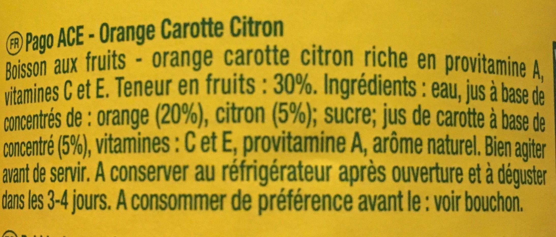 Pago Orange Carotte Citron - Ingredients