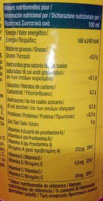 Pago Orange Carotte Citron - Nutrition facts