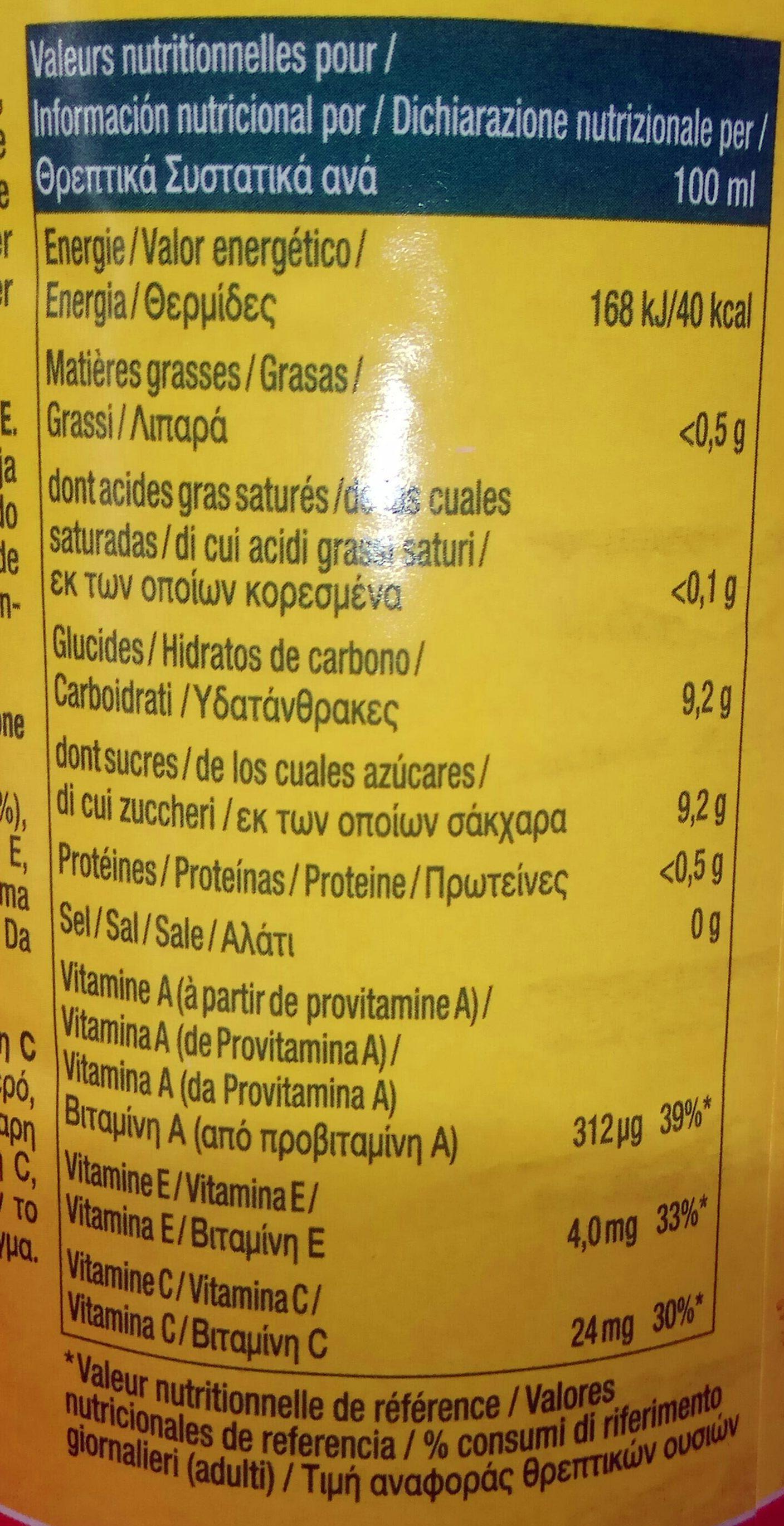 Pago Orange Carotte Citron - Voedingswaarden
