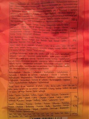 Mais Rings Mit Feinem Pizza-geschmack Im 125g Beutel Von Snackline - Voedingswaarden - fr