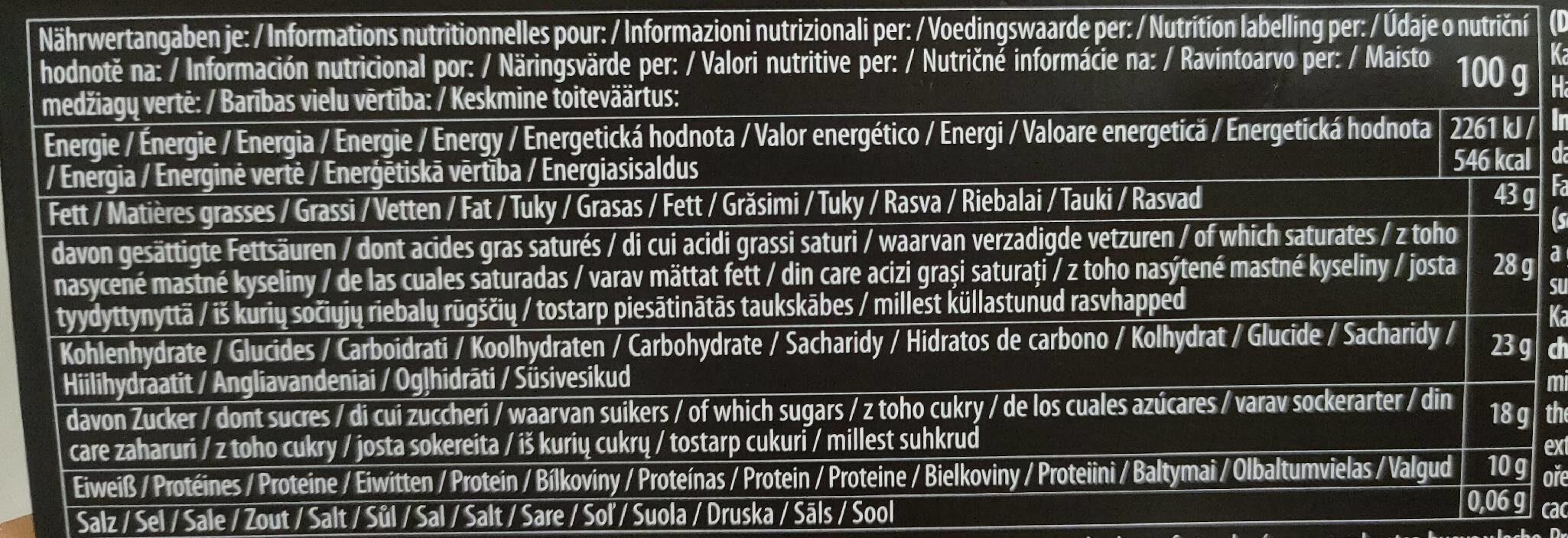 Chocolat noir extra 80% - Informació nutricional - fr