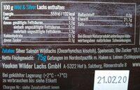 Wild & Silver Wildlachs - Nutrition facts - de