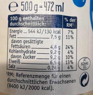 Kondensmilch - Informations nutritionnelles - de