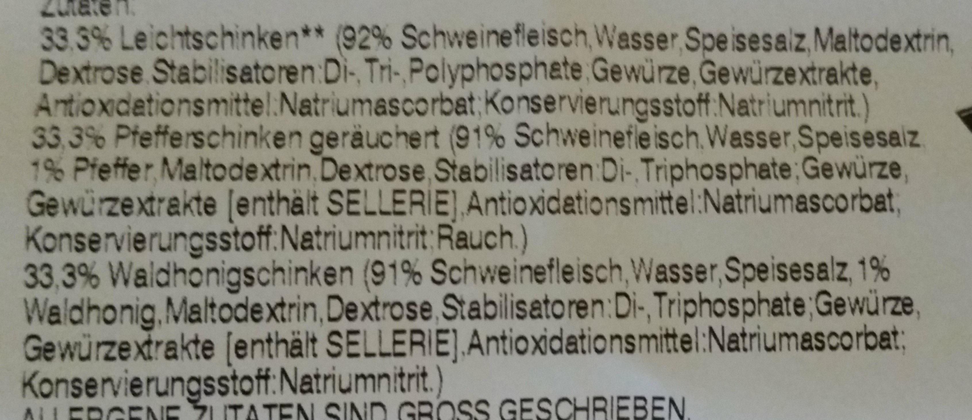 Feine Schinkenspezialitäten 3 Sorten - Ingredients - de