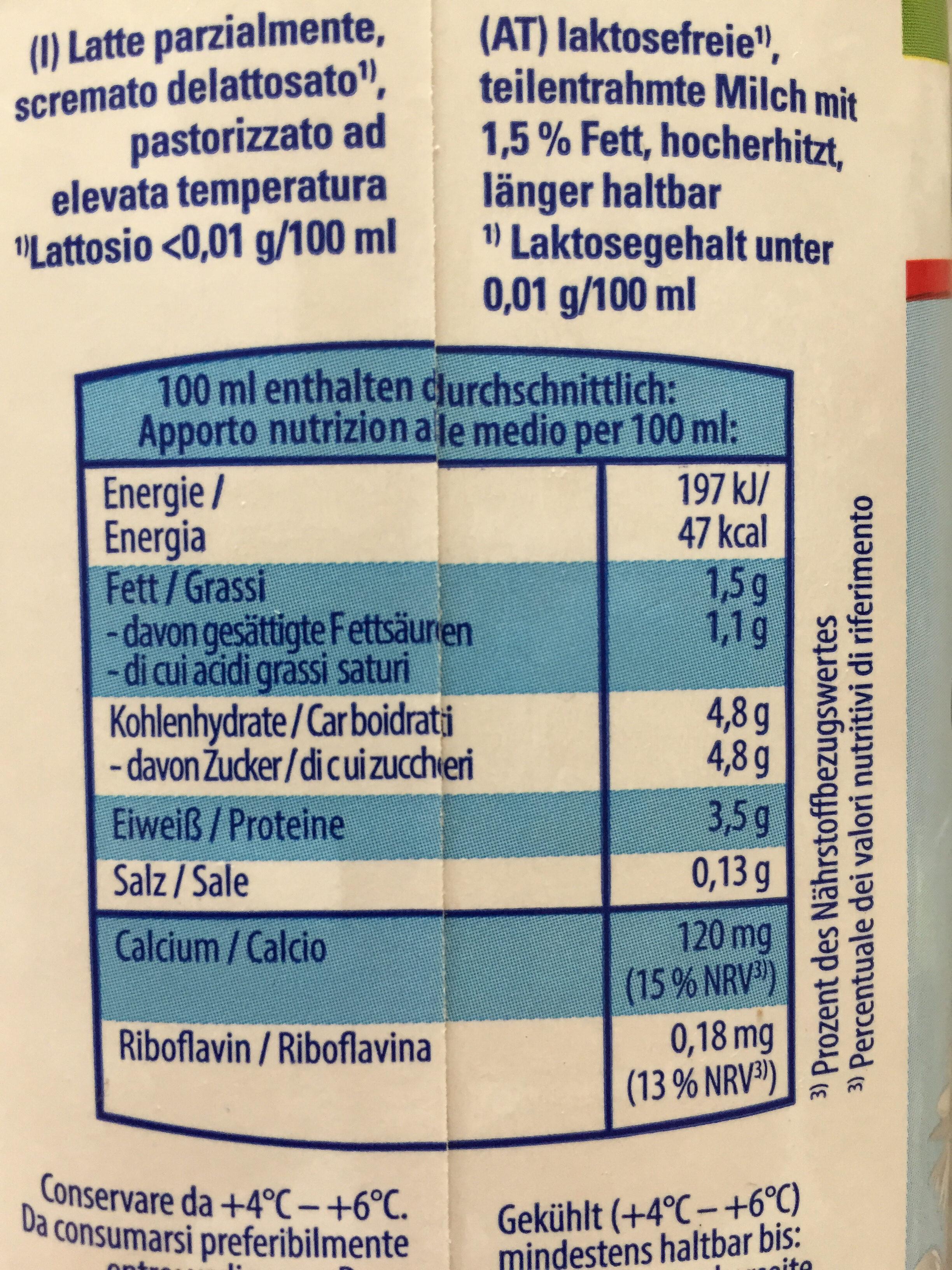 Laktosefreie Latte - Nutrition facts - de