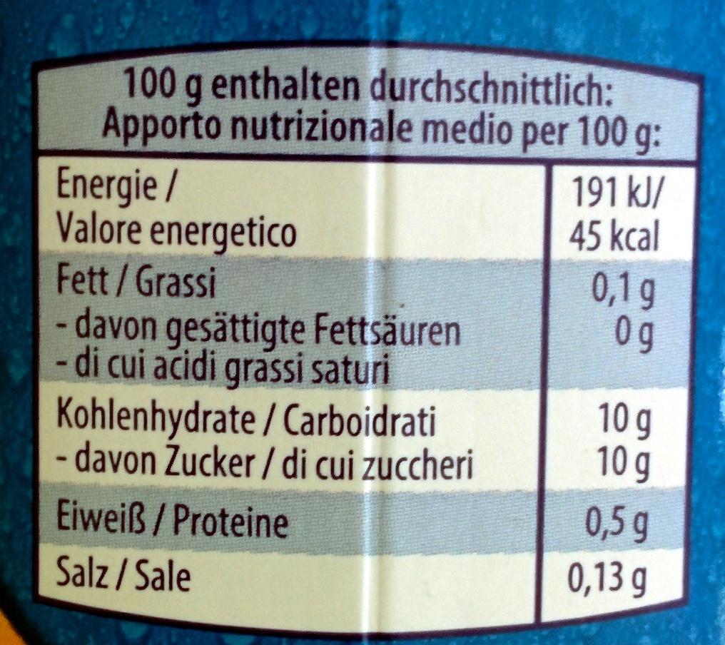 Fucht Molke Orange/Maracuja - Nutrition facts - de