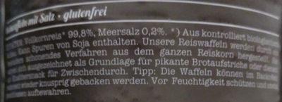 Bio Reiswaffeln, mit Meersalz - Ingredients - de