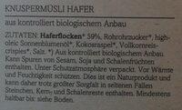 Bio-Hafer Crunchy - Ingredients - de