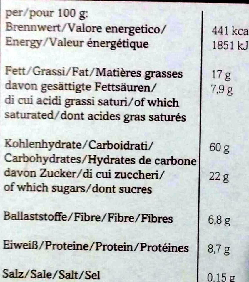 Bio-Hafer Crunchy - Nutrition facts - de