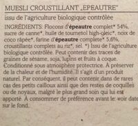 Verival Dinkel Crunchy Müsli Bio (375G Karton) - Ingredients - fr