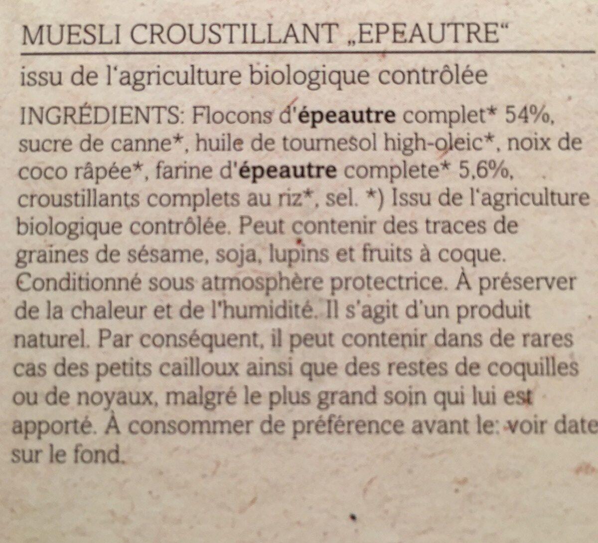 Verival Dinkel Crunchy Müsli Bio (375G Karton) - Ingredients