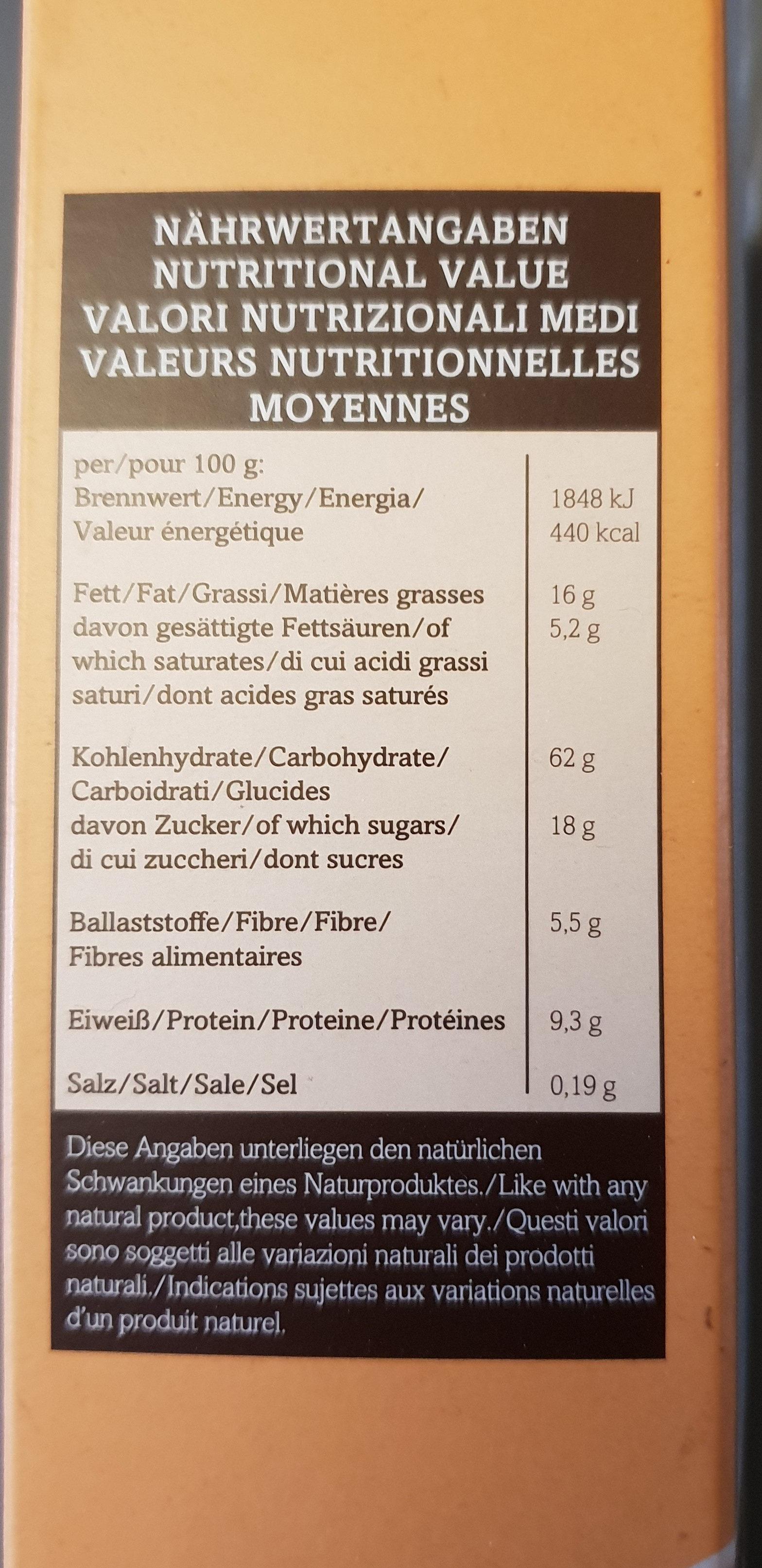Verival Dinkel Crunchy Müsli Bio (375G Karton) - Nutrition facts