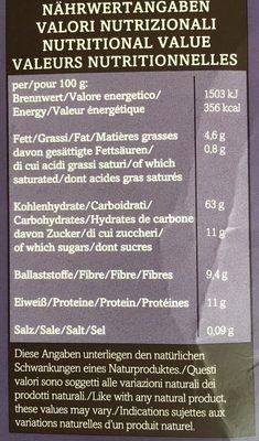 Muesli aux Baies - Informations nutritionnelles