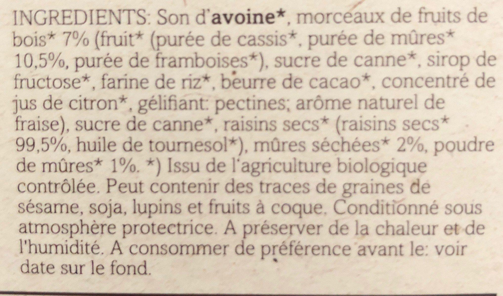 PORRIDGE aux Mûres - Ingrédients - fr