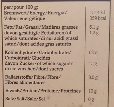 PORRIDGE aux Mûres - Informations nutritionnelles - fr