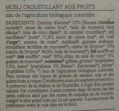 Crunchy Mix, Bio-frucht - Ingredients