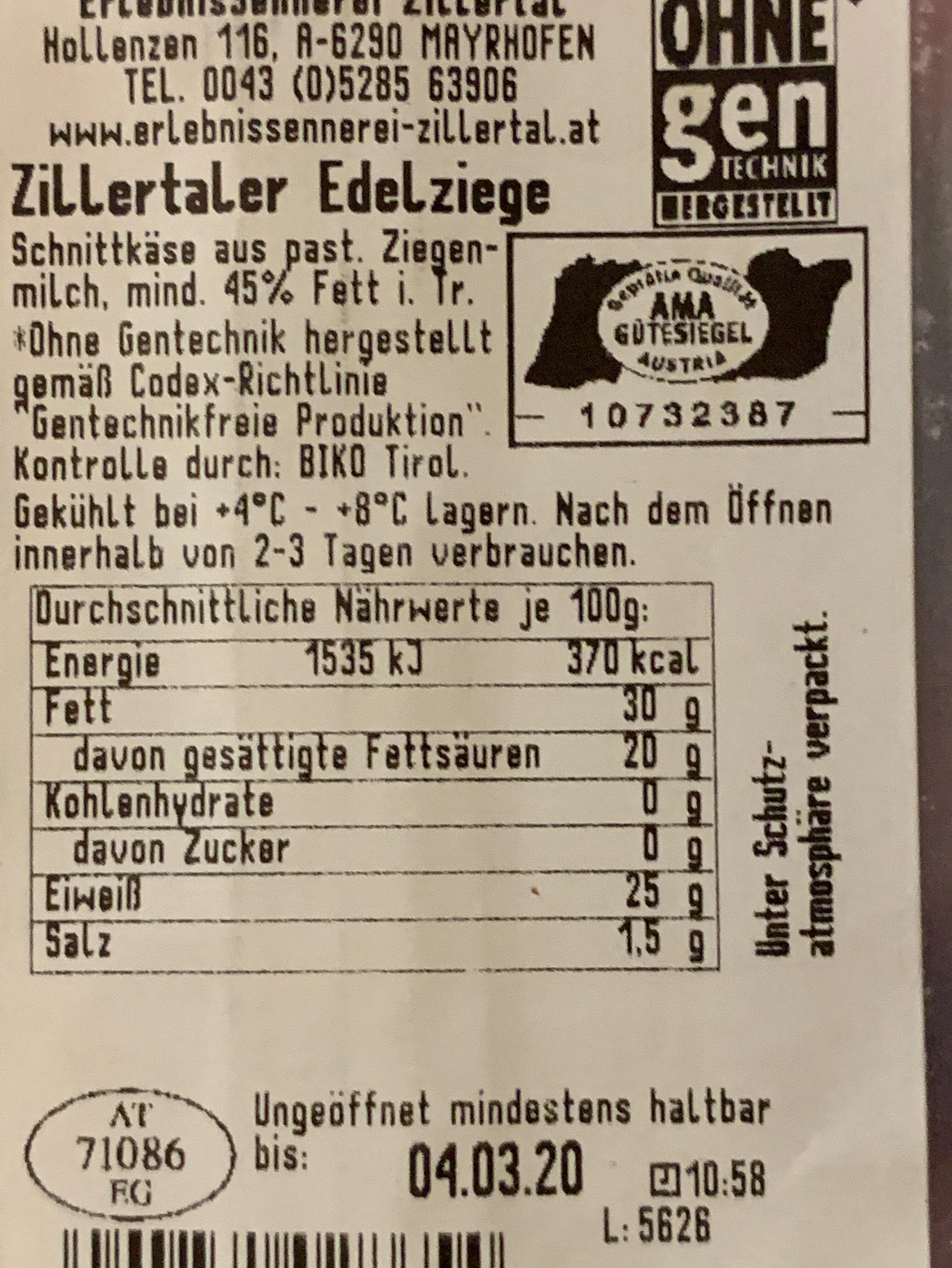 Edelziege - Ingredients - de