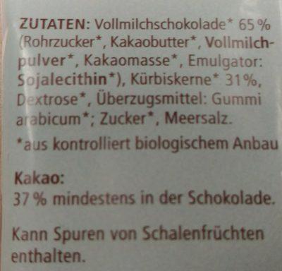Landgarten Schoko-kürbis Vollmilch, 50 GR Beutel - Ingrédients - de