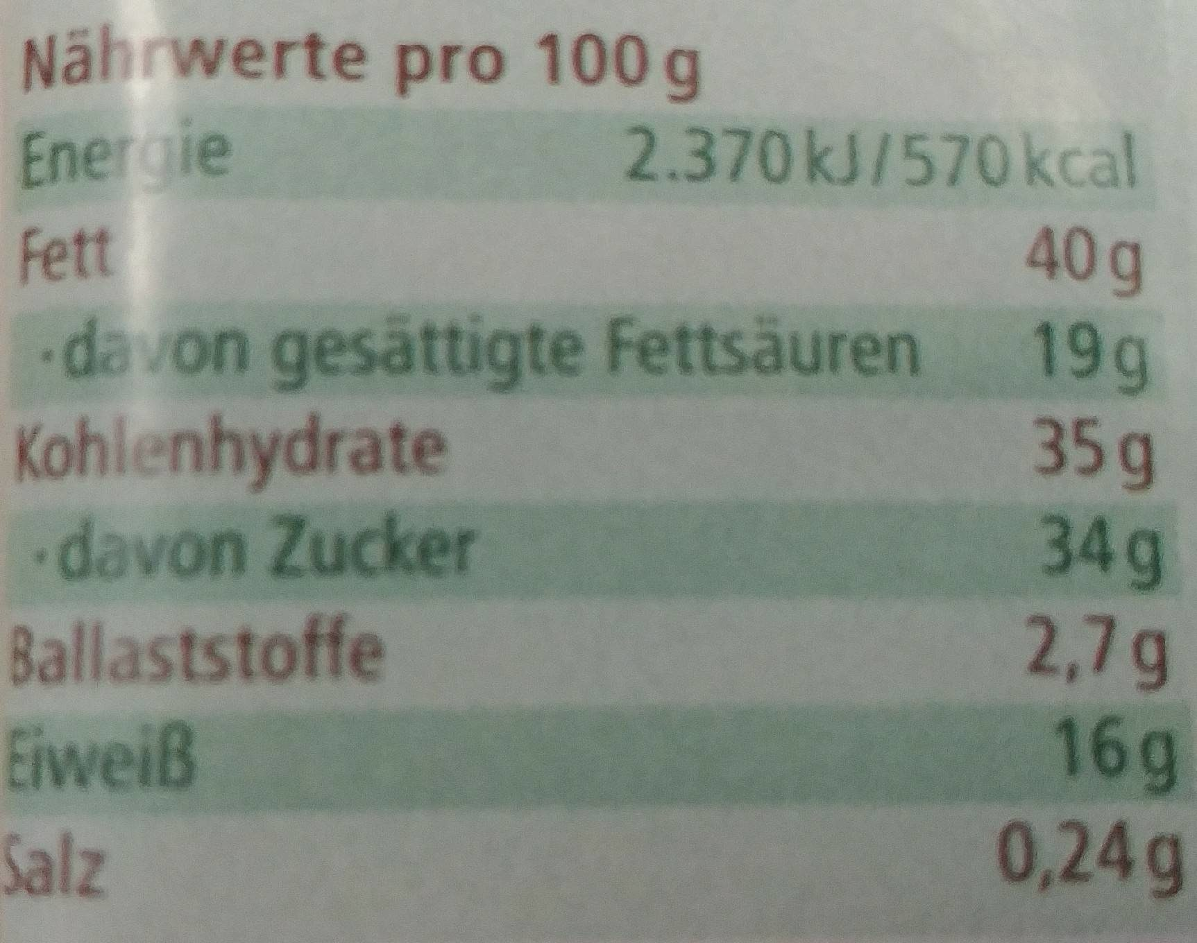 Landgarten Schoko-kürbis Vollmilch, 50 GR Beutel - Informations nutritionnelles - de