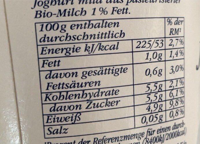 Bio Joghurt mild - Nutrition facts - de