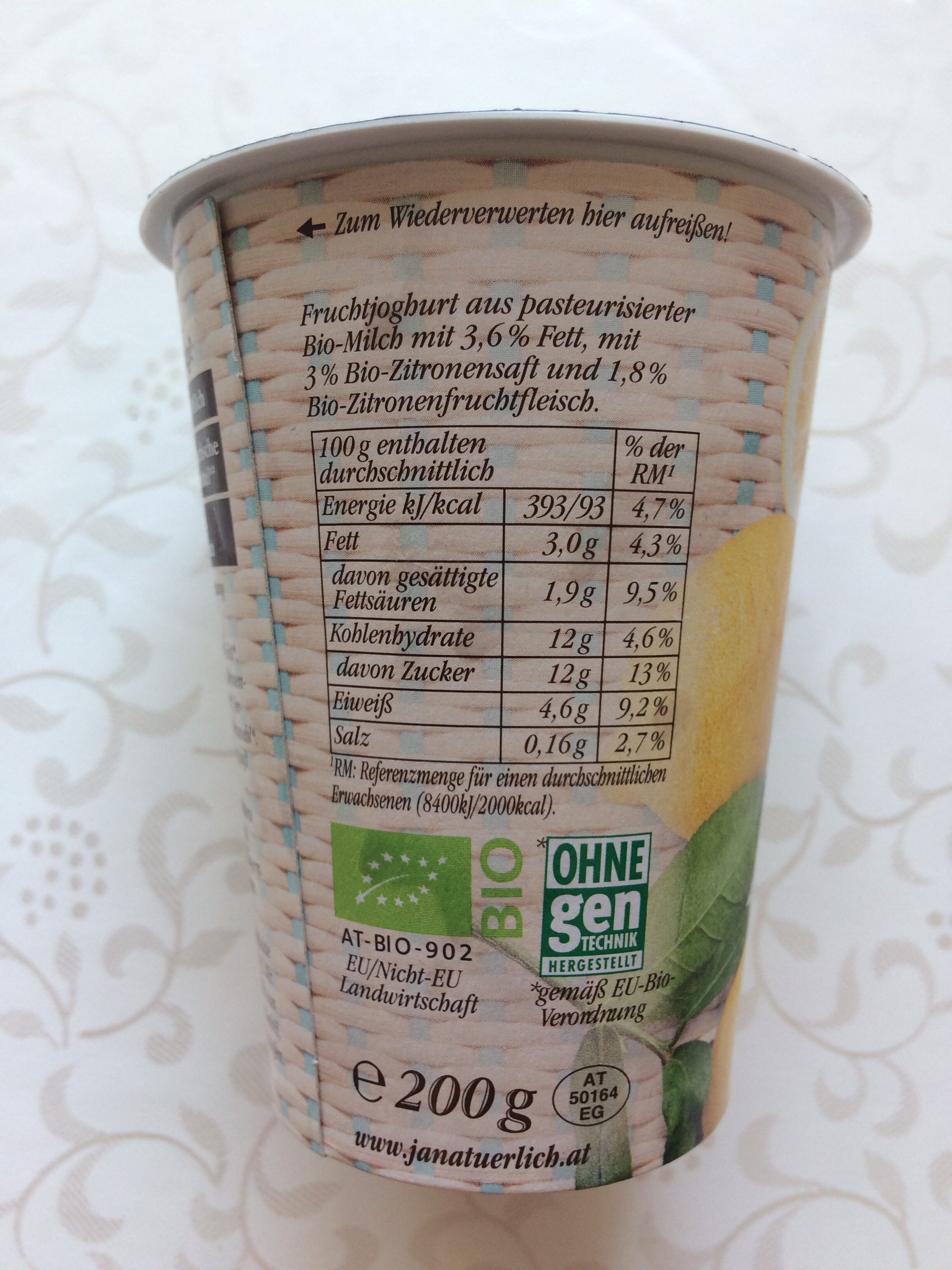 Sommerfrisch Bio-Zitrone - Nutrition facts - de