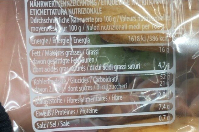 Nussschnecken - Nutrition facts - it
