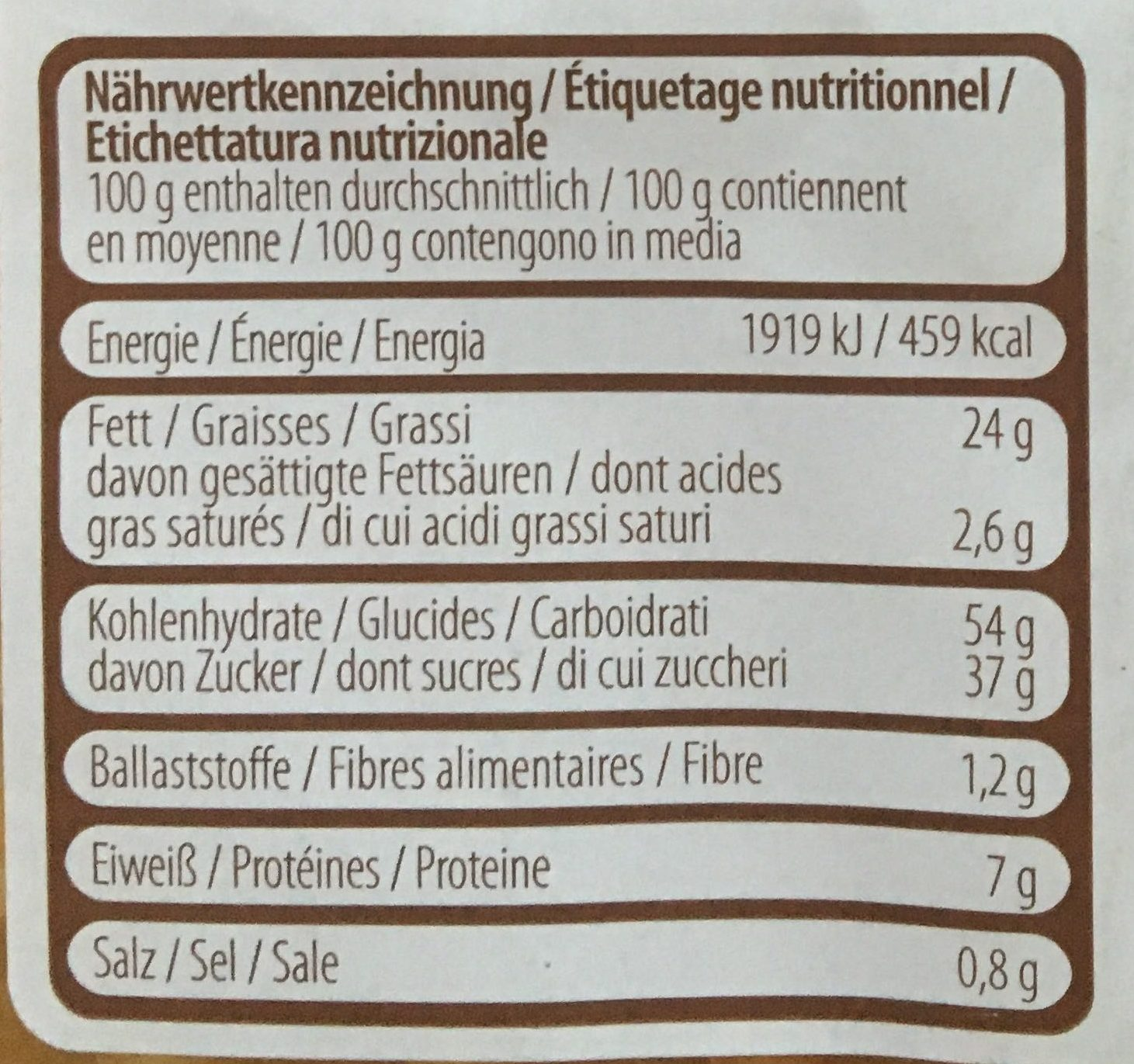 Frischeiwaffen - Nutrition facts