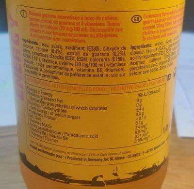 Blle 1L Guaraná Energy Drink - Voedingswaarden