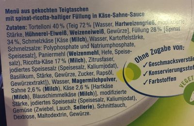 Ricotta Spinat Tortelloni In Käse Sahne Sauce - Ingredients